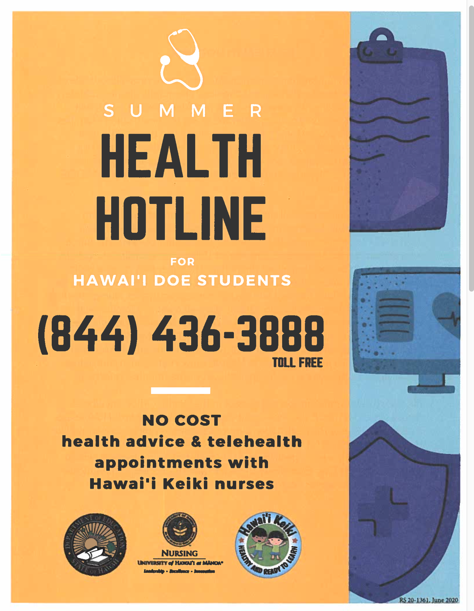 Summer Health Hotline - 844-436-3888
