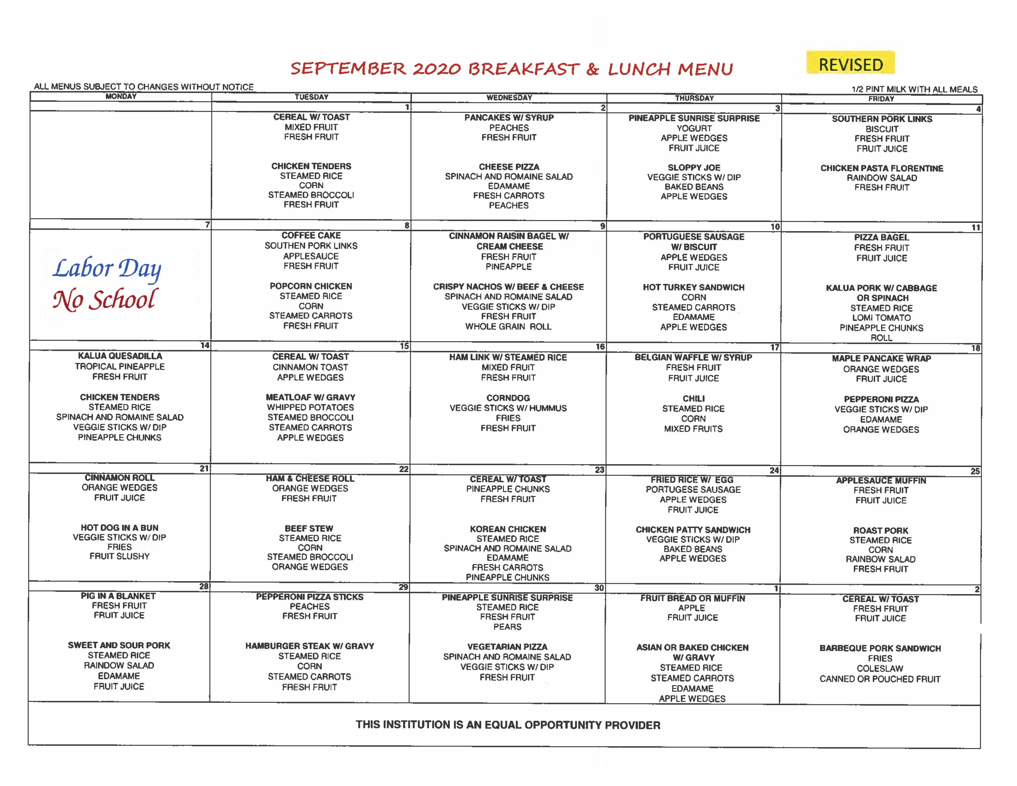 September 2020 Menu REVISED