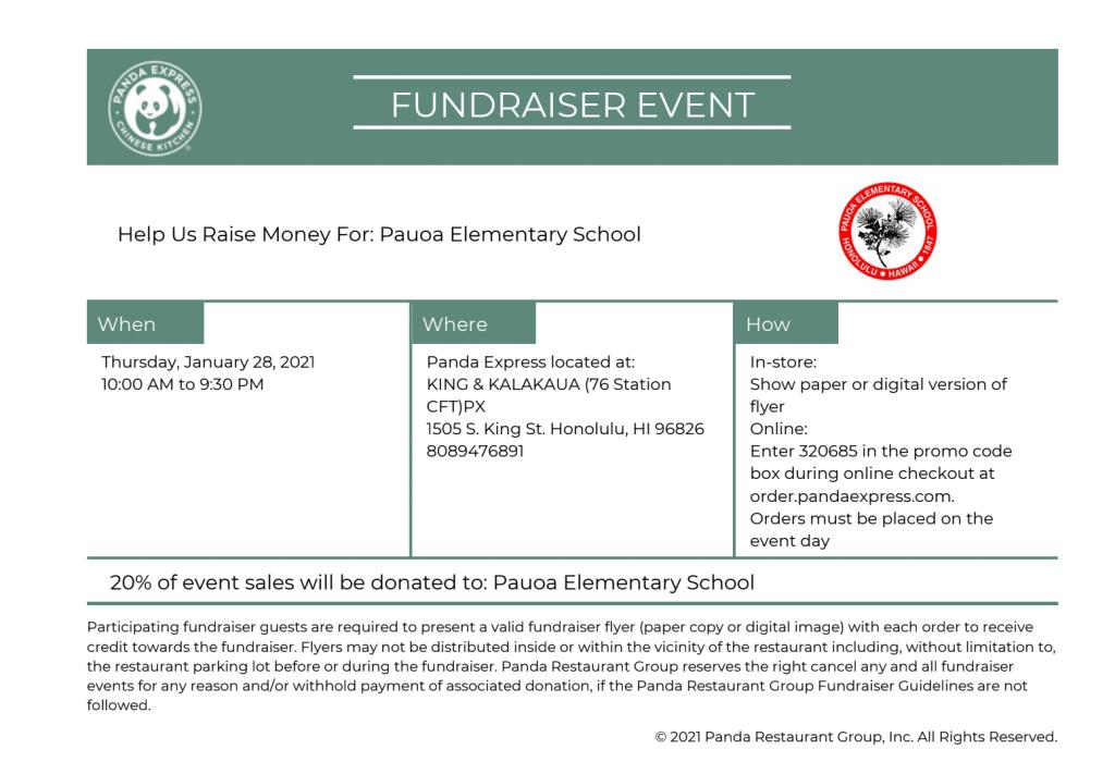 Pauoa Fundraiser at Panda