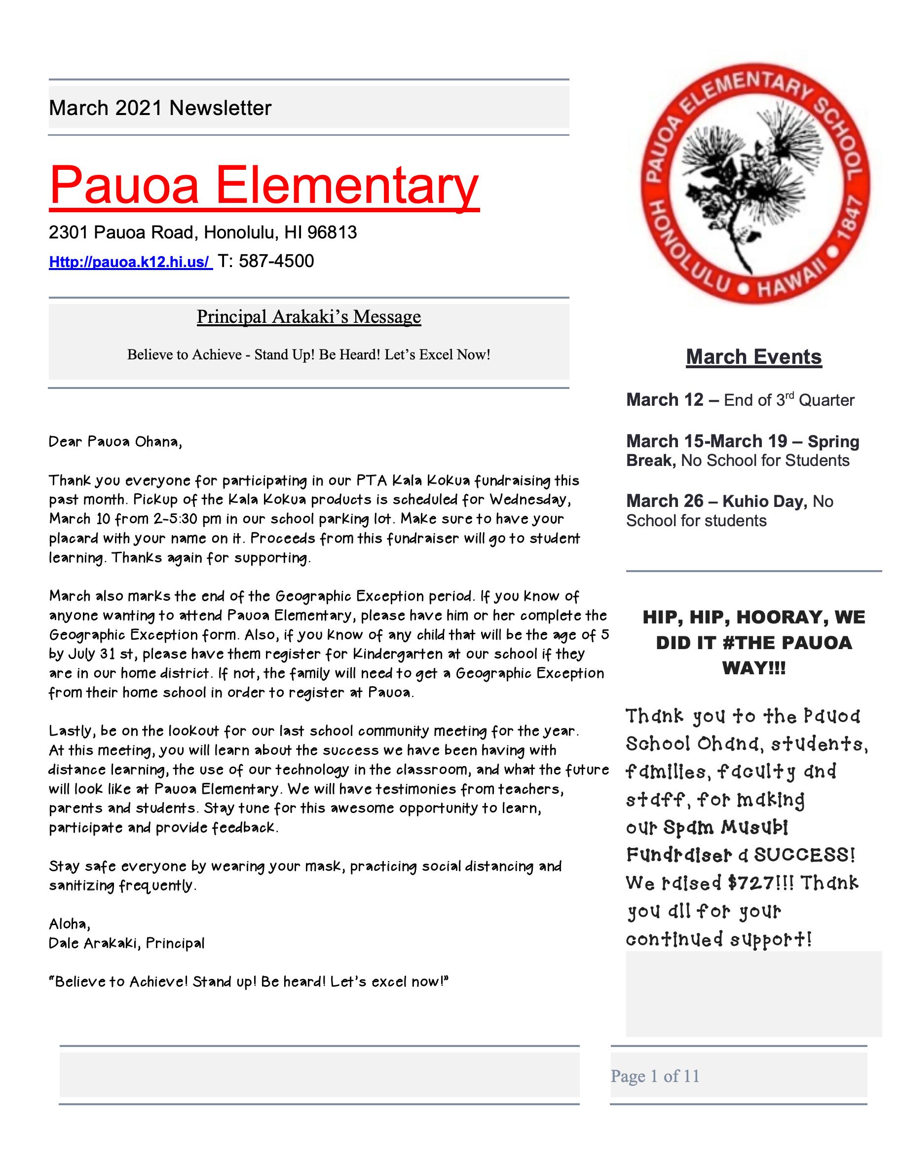 Pauoa March Newsletter